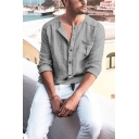 Mens Long Sleeve Round Neck Button Front Casual Loose Cotton Linen Shirt with Pocket