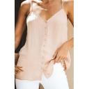 Summer V Neck Straps Sleeveless Button Front Sexy Leisure Cami Top