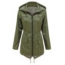 Womens Fashion Plain Outdoor Lightweight Waterproof Hooded Zip Up Long Windbreaker Coat