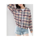 Womens Stylish Plaid Printed Long Sleeve Hooded Zip Up Chiffon Sunscreen Coat