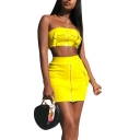 Women's Summer Stylish Plain Yellow Zipper Crop Bandeau Top with Mini Skirt Two-Piece Set