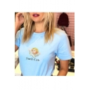 Blue Short Sleeve Round Neck SUCH CUTE Letter Baby Angel Printed Cropped Tee