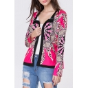 Womens Stylish Red Tribal Printed Long Sleeve Coat Jacket