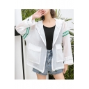 Womens New Stylish Simple Stripe Print Long Sleeve Hooded Zip Up Breathable Skin Jacket Coat