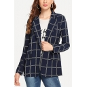 British Style Dark Blue Check Pattern Notched Lapel Collar Long Sleeve Blazer Coat