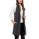 Fashion Simple Plain Hooded Sleeveless Longline Vest Knitwear