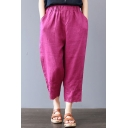 Womens Chic Simple Floral Embroidery Elastic Waist Casual Loose Tapered Harem Pants