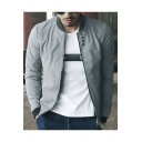 Men's New Style Simple Plain Stand Collar Button Detail Zipper Front Grey Jacket