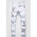 Men's New Fashion Letter Printed Embroidery Detail White Stretched Slim Fit Distressed Ripped Jeans