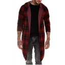 Fashionable Plaid Printed Long Sleeve Hooded Open Front Longline Trench Coat for Men
