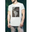 Summer New Trendy Letter NARCOS Map Print Short Sleeve Round Neck Graphic T-Shirt