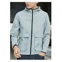 Summer Stylish Plain Long Sleeve Hooded Zip Placket Pockets Sun Protection Coat
