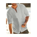 Mens New Trendy Plain Half Sleeve V-Neck Linen Casual Loose Basic T-Shirt