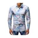 Stylish Floral Pattern Long Sleeve Lapel Collar Casual Button-Up Slim Fit White Shirt for Men