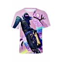 Mens Fashionable Short Sleeve Round Neck 3D Comic Printed Purple T-Shirt
