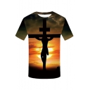 Summer Hot Fashion Jesus Cross Print Short Sleeve Round Neck Relaxed T-Shirt For Men