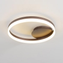 Coffee-cream Halo Ring LED Flush Light Fixture Minimalist Metallic Flushmount for Living Room
