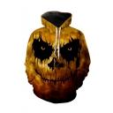 New Fashion Halloween Skull Printed Long Sleeve Loose Fit Yellow Casual Drawstring Hoodie