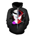 New Trendy Cool Unique 3D Comic Figure Printed Long Sleeve Black Drawstring Hoodie