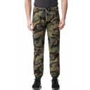 Men's Classic Fashion Popular Camouflage Printed Drawstring Waist Loose Fit Cargo Pants Track Pants