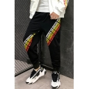 Men's Cool Fashion Contrast Letter Printed Black Casual Loose Track Pants