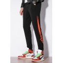 Men's Popular Fashion Contrast Painting Letter Printed Drawstring Waist Black Casual Sports Track Pants