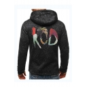 Men's New Trendy Letter KOD Figure Print Zip Closure Long Sleeve Casual Hooded Baseball Jacket