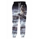 Hot Popular Astronaut 3D Printed Drawstring Waist Dark Grey Loose Fit Trendy Sports Sweatpants
