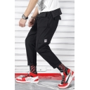 Mens New Fashion Solid Color Multi-pocket Drawstring Waist Casual Sports Cargo Pants