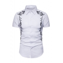 New Stylish Leisure Embroidered Floral Print Short Sleeve Button Front Shirt for Men