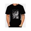Classic Portrait Print Black Casual Short Sleeve T-Shirt