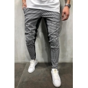 Mens Popular Fashion Colorblock Plaid Pattern Slim Fitted Casual Sports Pencil Pants