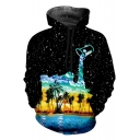 Black Starry Dropped Oil Painting Coconut Palm Loose Casual Drawstring Hoodie