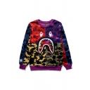 Hot Fashion Colorblock Camouflage Cartoon Shark Printed Long Sleeve Long Sleeve Multicolor Sweatshirt
