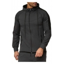 New Arrival Cool Colorblock Patched Drawstring Hooded Long Sleeve Mens Casual Sports Zip Up Hoodie
