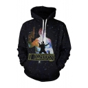 Hot Fashion Galaxy Figure Letter I KNOW 3D Printed Drawstring Hooded Black Long Sleeve Pullover Hoodie