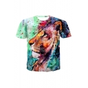 Hot Fashion Colorful Lion Pattern Round Neck Short Sleeve Sports T-Shirt For Men