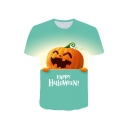 New Stylish Letter HAPPY HALLOWEEN Pumpkin Print Round Neck Short Sleeve Green Tee
