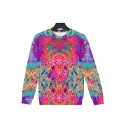 Couple Unique 3D Colorful Tie Dye Pattern Long Sleeve Relaxed Fitted Pullover Sweatshirt