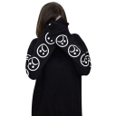 Black Smile Face Printed Round Neck Long Sleeve Sweatshirt