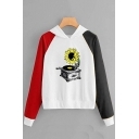 New Popular Color Block Long Sleeve Gramophone Sunflower Printed Unique Hoodie