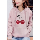 Cartoon Cherry IT's COOL Letter Printed Long Sleeves Pocket Pullover Drawstring Hoodie