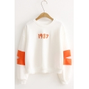 Simple 1987 Letter Embroidered Round Neck Cutout Long Sleeve Color Block Loose Pullover Sweatshirt