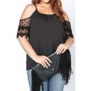 Womens Simple Plain Cut Out Short Sleeve Scoop Neck Mesh Patched Black Chiffon T-Shirt