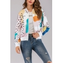 Womens Black Spot Graphic Printed Stand Up Collar Zipper Short Baseball Jacket