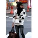 Hot Fashion Skull Printed Long Sleeve Zip Up Hoodie With Pockets