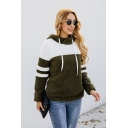 New Trendy Color Block Striped Long Sleeve Fluffy Teddy Hoodie