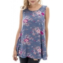 Women's Hot Fashion Floral Printed Round Neck Sleeveless Casual Tank Top