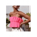 Summer Hot Fashion Off Shoulder Sleeveless Plain Bow Waist Back Pleated Cami Top