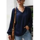 Womens Fashion Leisure Long Sleeve V-Neck Plain Knitwear Relaxed Loose Tee